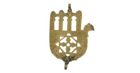 Moroccan Judaica <i>khamsa,</i> early 20th century, offered by Mosaik
