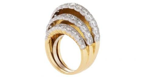 Cartier step diamond and gold ring, 1945–50