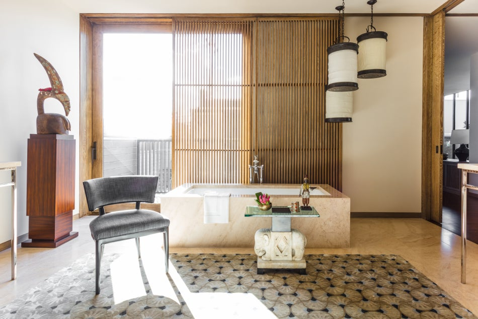 Chicago designer Tom Stringer Venice Beach California home master bathroom