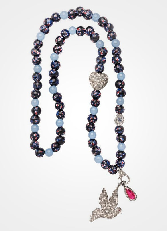 African Beaded Necklace with Bird Pendant
