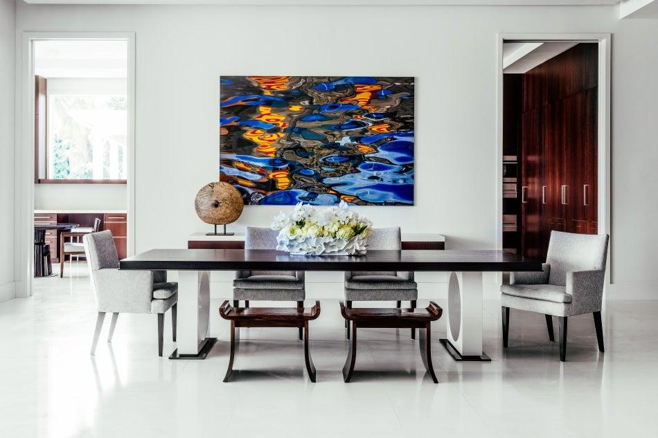 Chicago designer Tom Stringer South Florida home great room dining area