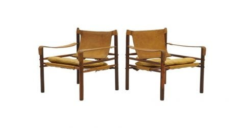 Arne Novell Sirocco safari lounge chairs, 1960s, offered by Retro Inferno