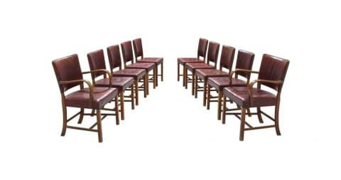 Fritz Hansen dining chairs, ca. 1940, offered by Morentz