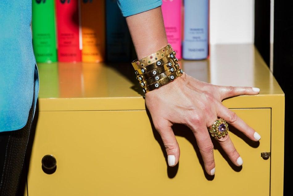 Clarissa Bronfman bangles and ring
