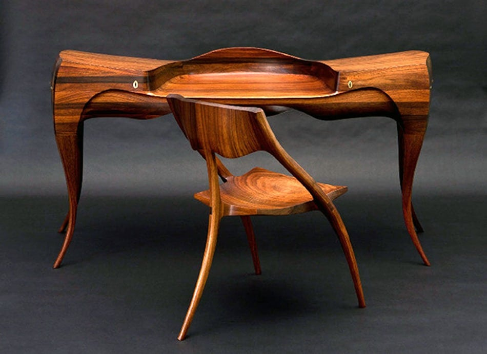 Wendell Castle 1965 Vermilion desk and chair