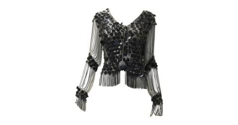 Loris Azzaro sequin and chain-mail tassel cardigan, 1970–79, offered by Sielian's Vintage Apparel