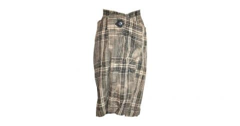 Vivienne Westwood plaid linen deconstructed skirt, 1990–99, offered by Fuchsia Treasures Corps