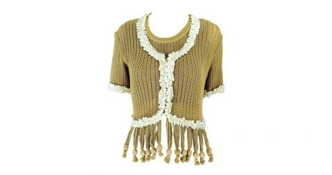Moschino wooden-bead fringe sweater twin set from the Nature Friendly Garment collection, late 20th century, offered by Palm Beach Vintage