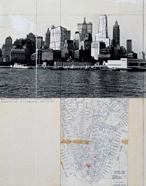 Artists Christo and Jeanne-Claude New York City wrapped skyscrapers plan