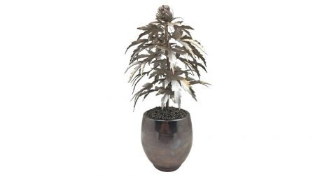 Silver-gilded-tole marijuana plant, 21st century