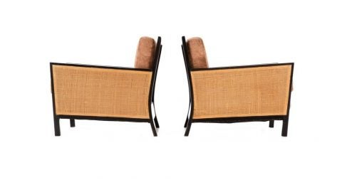 Milo Baughman lounge chairs, ca. 1954, offered by Converso