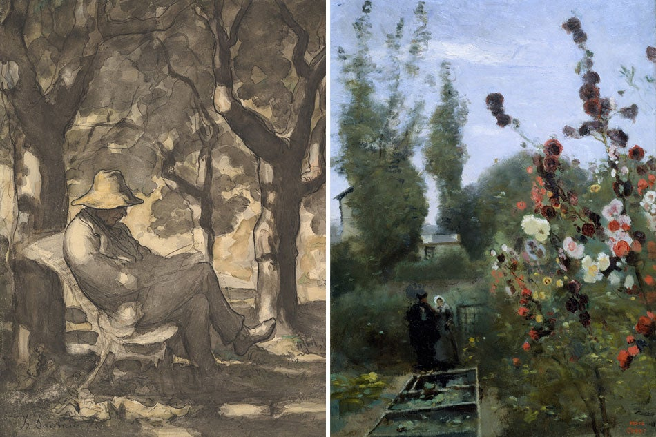 Honoré Daumier A Man Reading in a Garden and Jean-Baptiste-Camille Corot In the Garden at the Ville d'Avray Public Parks, Private Gardens: Paris to Provence French France Metropolitan Museum of Art New York