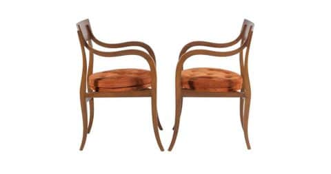 Pair of Edward Wormley for Dunbar Alexandria chairs, 1950s, offered by Adam Edelsberg
