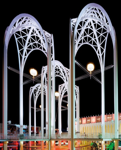 "Seattle 1962 World's Fair, ""Jade Doskow, Century 21 Exposition,"" Science Center Arches at Night, 2014"