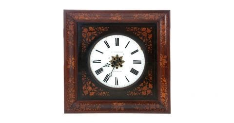 B.J. Vanderveken wall clock, 19th century, offered by Fireside Antiques