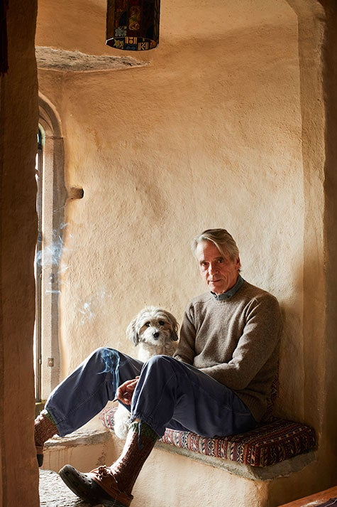 Jeremy Irons and dog Smudge at Kilcoe Castle