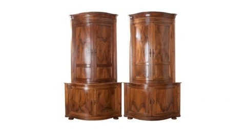 Pair of French walnut corner cabinets, 1870s, offered by Fireside Antiques