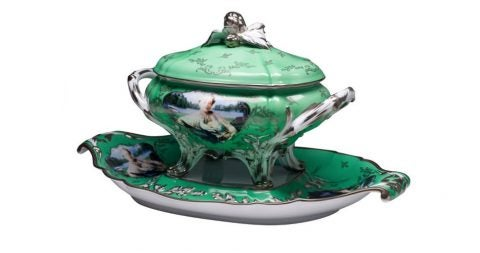 Cindy Sherman Madame de Pompadour Limoges porcelain tureen, 20th century, offered by Artware Editions