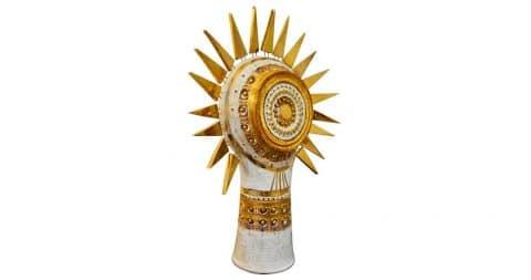 George Pelletier sunburst table lamp, 1970s, offered by Portuondo Paris