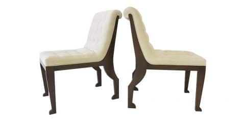 Marc du Plantier–style neoclassical slipper chairs, 1980s, offered by Michel Contessa Antiques and More