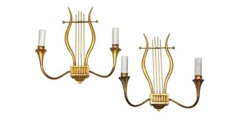 Pair of Marc du Plantier lyre-form wall sconces, 1940s, offered by BG Galleries