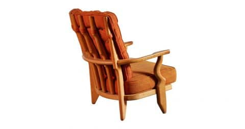 Guillerme et Chambron sculptural wood lounge chair, 1950s, offered by Sumner