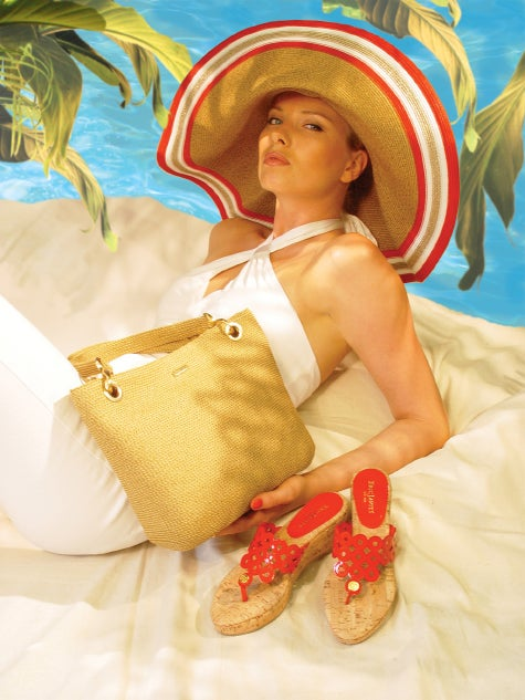 model wearing Eric Javits accessories