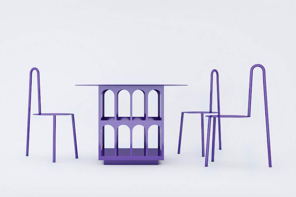 Crosby Studios contemporary chair and table, 2018