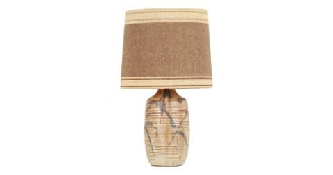 David Cressey for Architectural Pottery lamp with Maria Kipp shade, ca. 1960, offered by Automaton