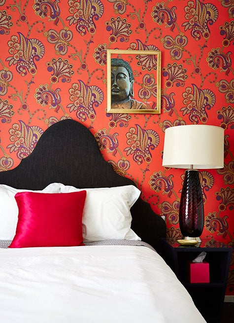 Hand-painted wallpaper in a bedroom designed by Aamir Khandwala