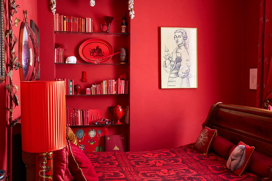 The red room in Barnaba Fornasetti's house