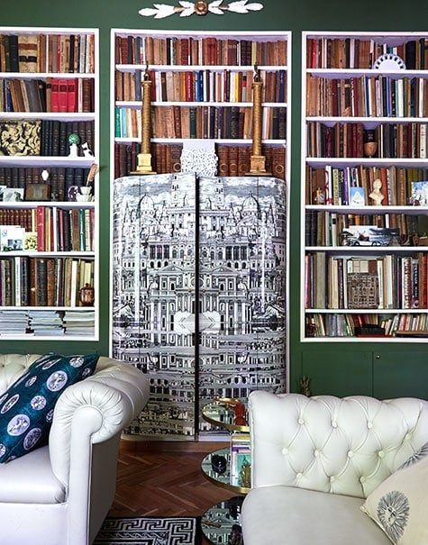Barnaba Fornasetti's green living room