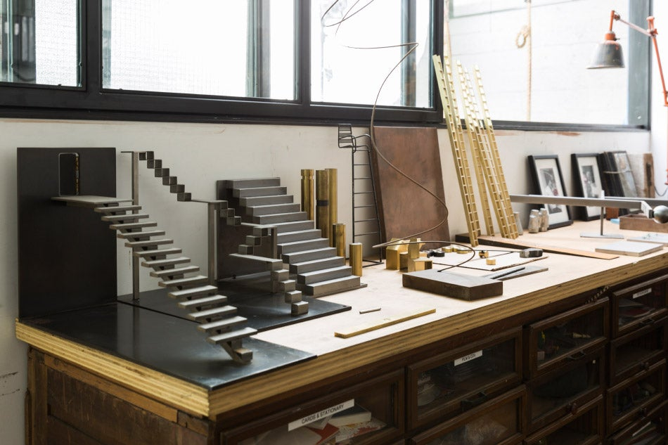 Work space in Gabrielle Shelton's studio