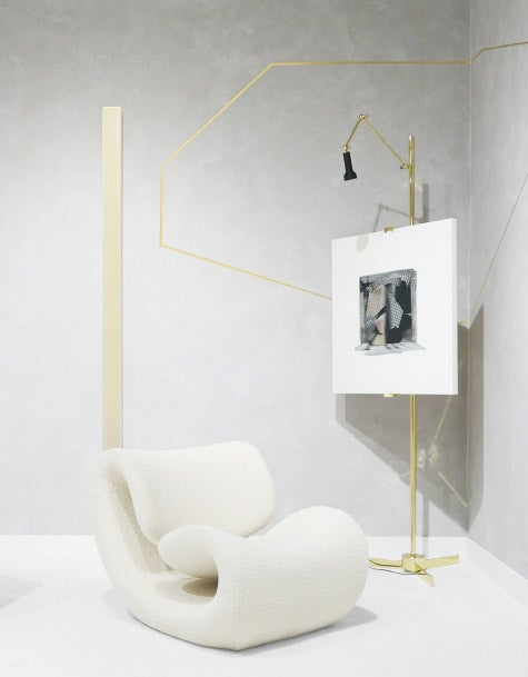 Esox chair by Jean-Pierre Laporte, Angelo Lelli Easel lamp and artworks by Ron Cooper and Larry Bell at Collective, 2018