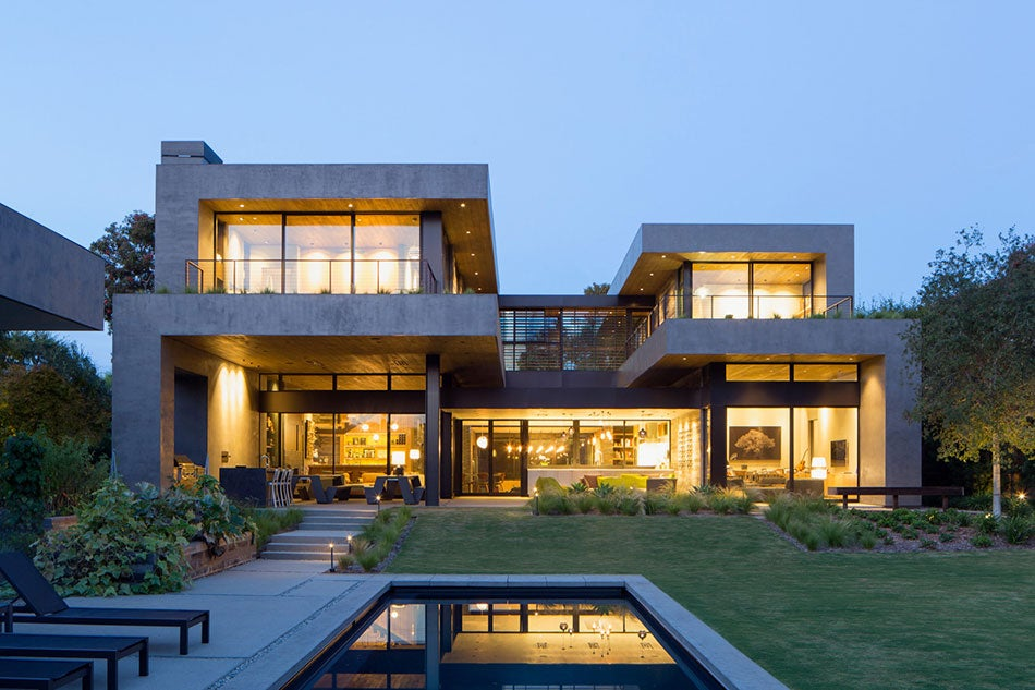 The outside of a home that was designed by Marmol Radziner