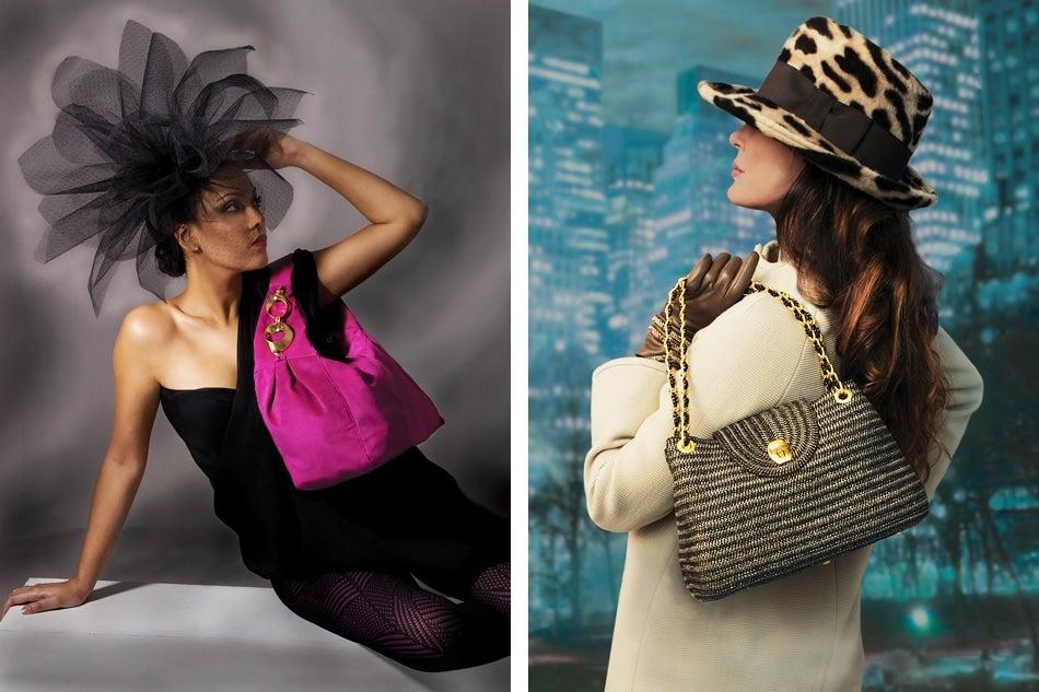 models wearing Eric Javits hats and handbags