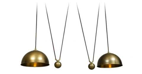 Florian Schulz brass Posa double-drawbar ceiling lamp, 1970s, offered by RetroRaum