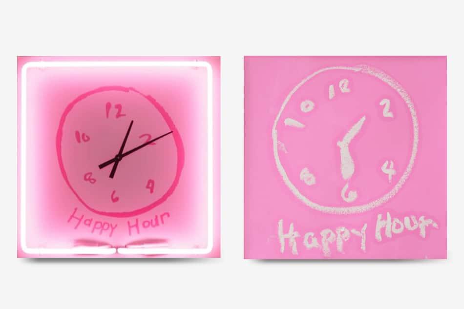 "Two clocks showcased in Rachel Lee Hovnanian's ""Happy Hour"" exhibit"