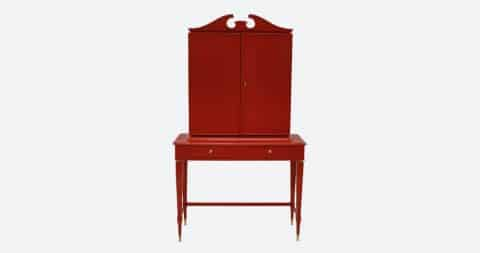 Paolo Buffa architectural bar cabinet in scarlet lacquer, ca. 1950