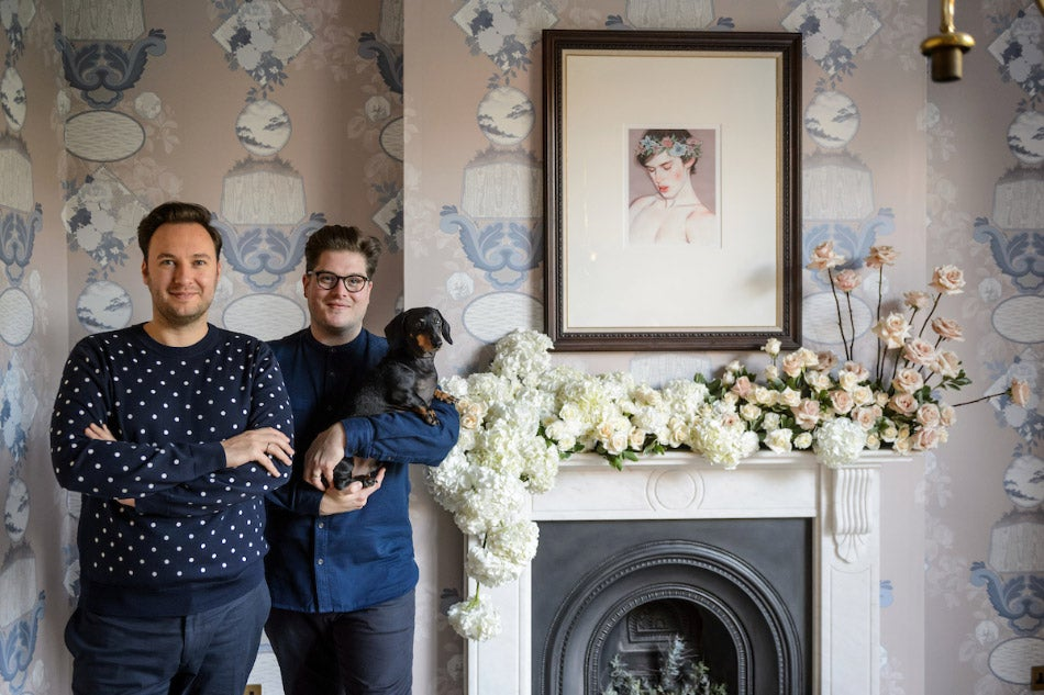 Jordan Cluroe and Russell Whitehead 2 Lovely Gays with their dachshund, Buckley
