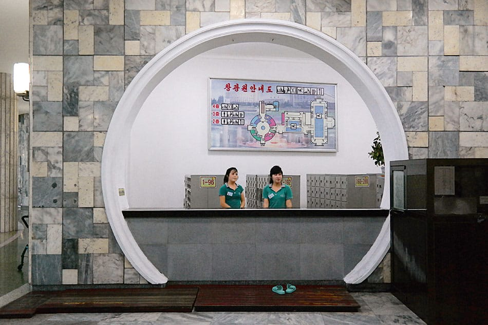 Two women at the front desk of Changgwang Health and Recreation Complex