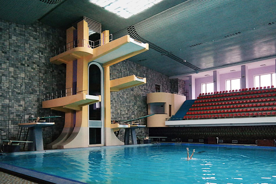 Swimming pool and diving boards at the Changgwang Health and Recreation Complex