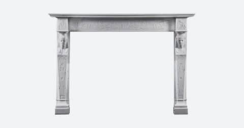 Regency neoclassical Egyptian-style statuary marble fireplace, 1810–20