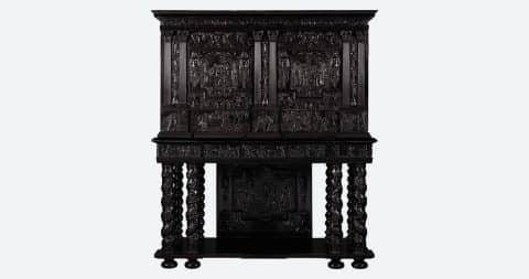 Louis XIV carved ebony, fruitwood, rosewood and bone-inlaid cabinet, ca. 1660