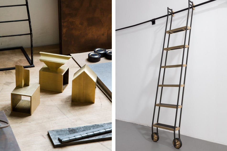 Samples of Gabrielle Shelton's work and a library ladder that appears in her studio