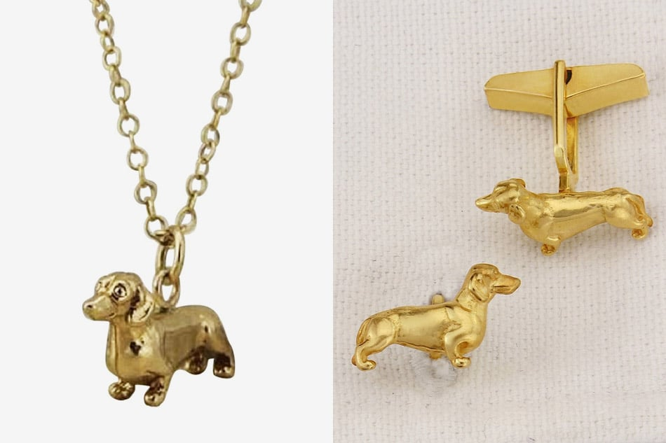 Dachshund pendant necklace and cufflinks