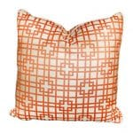 Tangerine and cream outdoor pillow, 2014