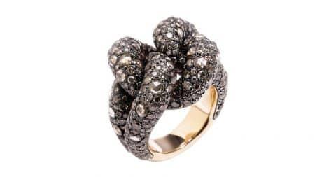 Pomellato 7.86-carat cognac-diamond Sabbia ring, 2015, offered by Zadok Jewelers