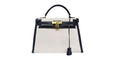 Hermès toile canvas and Courchevel leather Sellier Kelly bag, 2010, offered by Iconic Vault