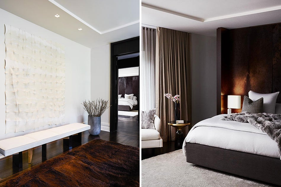 Second-floor landing and master bedroom by Julie Charbonneau Design